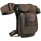 Thigh Drop Leg Bag for Men Fanny Pack Tactical Military Motorcycle Rider Multi-Pocket Waist Bags Mens Travel Hiking Climbing Cycling Outdoors (Coffee)
