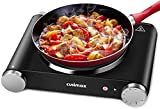 Cusimax Hot Plate Electric Burner Single Burner Cast Iron Heating Plate Portable Burner 1500W with Adjustable Temperature Control Stainless Steel Non-Slip Rubber Feet Black Easy to Clean - Amazon Vine
