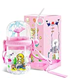 Haobuy Kids Whale Spray Bottle, BPA Free Toddler Sippy Cups Reusable Sports Drinking Bottle With Straw 250ML Portable Drop Resistance Water Spray Bottle for Boys and Girls (Pink A)