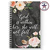 Softcover She Will Not Fall 5.5' x 8.5' Religious Spiral Notebook/Journal, 120 College Ruled Pages, Durable Gloss Laminated Cover, White Wire-o Spiral. Made in The USA