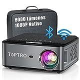Proyector WiFi Bluetooth 1080P, 8000 Lúmenes TOPTRO Proyector 4K Soporte, Proyector 5G WiFi Full HD 1080P Nativo Soporte Ajuste Digital de 4D y Función de Zoom, Proyector LED Cine en Casa para movil