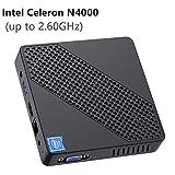 Mini PC sans Ventilateur Intel Celeron N4000 (jusqu'à 2,6 GHz) 4 Go DDR4 /...