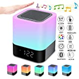 Bluetooth Speaker Night Lights, Alarm Clock Bluetooth Speaker MP3 Player, Touch Control Bedside lamp, Dimmable RGB Multicolor Changing LED Table Lamp for Bedroom, USB Flash Drive/MicroSD/AUX Support