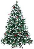 WEWILL rbol de Navidad Artificial 180CM rbol de Navidad Nevado con Conos de Pino Decorados y Bayas Rojas Pino Blanco Natural para Decoraciones
