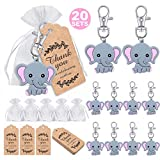 MOVINPE 20 Sets Baby Shower Return Favors for Guests, Pink Baby Elephant Keychains + Organza Bags + Thank You Kraft Tags for Elephant Theme Party Favors, Girls Kids Birthday Party Supplies (Health and Beauty)