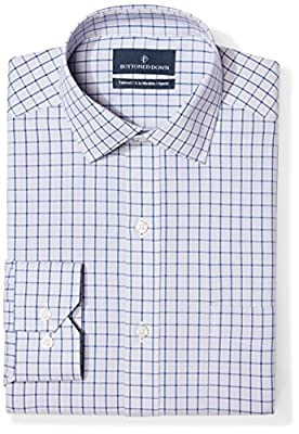 Long-sleeve check pattern non-iron dress shirt with no pocket, offered in variety of collar types Luxury Supima cotton with a lightweight finish; side pleated back yoke Satisfaction Guarantee: If you are not completely satisfied with your Buttoned Do...