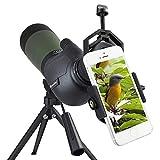 Monocolo Spottingscope Birding, 20 - 60mm x 80mm, con prisma di Porro, impermeabile, per tiro con l'arco, per osservare gli uccelli e attività all'aria aperta, con treppiede e adattatore per digiscoping