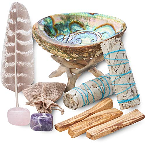 Home Cleansing & Smudging Kit with White Sage, Palo Santo,...