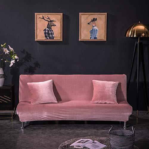 Monba - Fodera per divano letto in velluto volpe, copertura completa, pieghevole, senza braccioli, colore: rosa, L: 160-195 cm