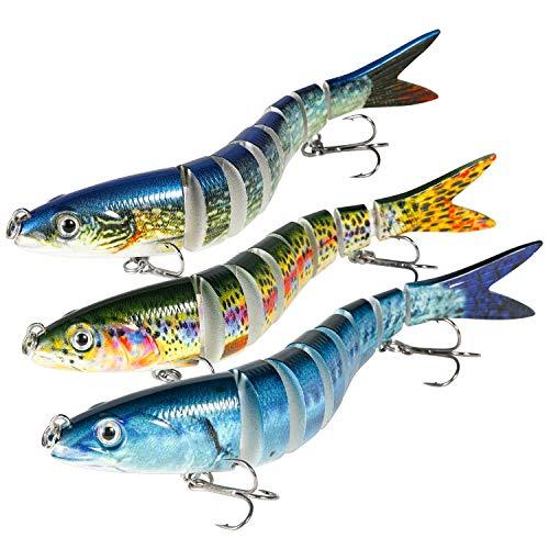 Magreel Esche da Pesca Kit Esche Artificiali Multi Segmenti Set Esche Pesca per Persico Luccio Esca Artificiale per Diversi Tipi Pesce