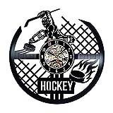 LKJHGU Disco de Vinilo Disco de Hockey Reloj de Pared diseño Deportivo Moderno decoración 3D Reloj de Pared Colgante Sala de Estar Dormitorio decoración Reloj Equipo de Hockey Regalo