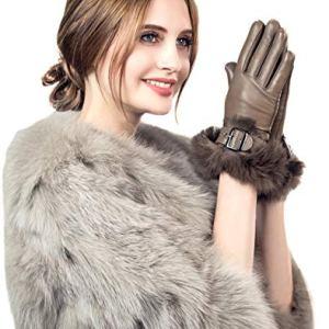 YISEVEN Womens Sheepskin Leather Gloves Rabbit Fur Cuff Wool Lined Touchscreen
