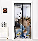 MWind Magnetic Screen Door, Fiberglass Sliding Black Screen Curtain - 39 x 83 inches, Full Frame for Patio and Doorway - Kids Pets Friendly - Fits Door Size Up to 37'x82' Max