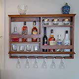Timberly Bar Cabinet | Wine Rack with Glass Storage, Wall Hanging Mini Bar for Home, Wine Glass Rack/Holder Upside Down Glass Hanging Organizer - Walnut Color, (38/25 Inch)