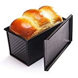 CHEFMADE Loaf Pan with Lid, Non-Stick Bakeware Carbon Steel Bread Toast Mold with Cover for Baking Bread - BLack