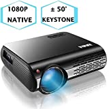 1080P Projector,XINDA 4000 Lux Native HD 1080P Projector with 327' Display,3D Home Theater Projector with 6000 Hours lamp.Built in 5W Speaker,Compatible with Fire TV Stick,PS4,HDMI,VGA,TF,AV and USB