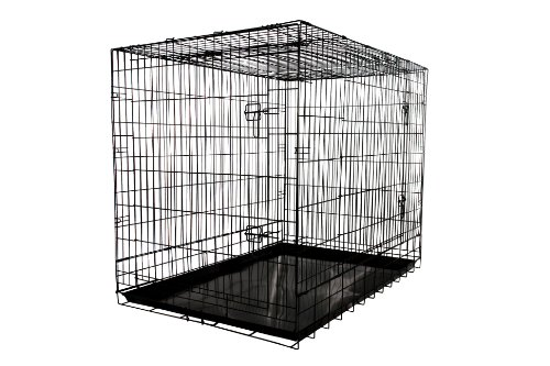 Allmax 3-Door Folding Metal Dog Crate with Steel Tray, Large, Black