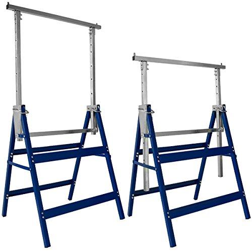 Deuba 2x Gerüstbock 7-fach höhenverstellbar 81-130 cm 400 kg klappbar Metall Unterstellbock Klappbock Arbeitsbock