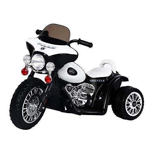 HOMCOM Moto Electrica Tipo Coche o Triciclo para Niños 18-36 Meses, 6V, Metal + PP, Negro o Blanco 80x43x54,5cm