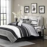 Madison Park Blaire Queen Size Bed Comforter Set Bed in A Bag - Grey, Stripe – 7 Pieces Bedding Sets – Faux Silk Bedroom Comforters