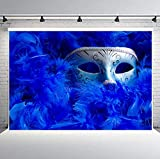 FLASIY Silver Mask Backdrop 10x7ft Navy Blue Feather Photography Backdrops Dress-up Party Masquerade Background Photo Booth Studio Props LHAY104