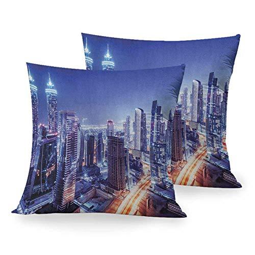 "Matt Flowe Decorative Pillowcase City,Dubai Downtown UAE Night Scenery Modern High Rise Buildings Travel Destination, Violet Blue Orange Home Sofa Outdoor Decor Square Pillowcase W 16"" x L 16"""