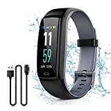 Kirlor Fitness Tracker, Waterproof Color Screen Smart Bracelet with Heart Rate Blood Pressure Monitor,Smart Watch Pedometer Activity Tracker Bluetooth for Android & iOS (Gray)