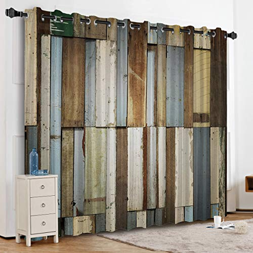 KAROLA Blackout Curtains Window Treatments for Living Room/Bedroom Room Darkening Grommet Drapes and Curtains,Rustic Old Barn Wood 52