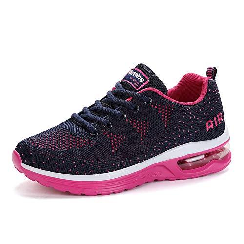 frysen Zapatillas de Deportes Hombre Mujer Zapatos Deportivos Aire Libre para Correr Calzado Sneakers Gimnasio Casual Unisexo Blue Pink 38
