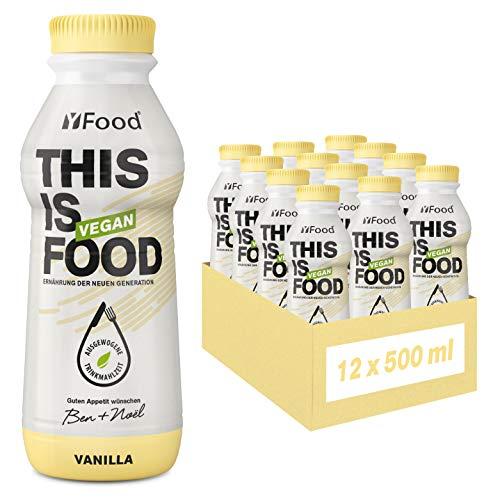 YFood Vegan Vanille   Laktose- & glutenfreier Nahrungsersatz   26g Protein, 26 Vitamine & Mineralstoffe   Astronautennahrung - 25% des Kalorienbedarfs   Trinkmahlzeit, 12 x 500 ml   3,00 € Pfand inkl.