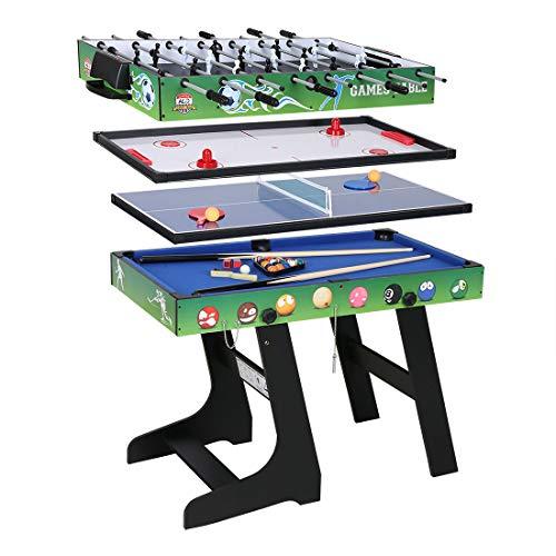 hj JH Tavolo Multigioco 4 in 1 con Biliardo Pool, Calcio Calcetto,Ping Pong, Hockey Regalo per Bambini