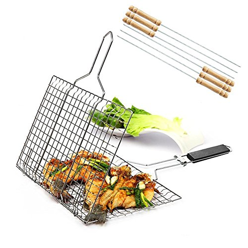 Stainless Steel BBQ Barbecue Grill Basket With Removable Wood Handle,-Grilling Basket Pan for Vegetables