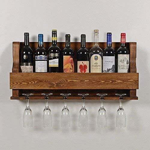 Indigo interiors Alvarado Wine Rack Gloss Holder, Wall Mounted Wine Racks, 8 Bottles, Hangers for 6 Wine Glasses (Teak)