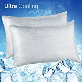 LUXEAR Cooling Pillowcase, 2 Pack Cooling Pillow Cover with Japanese Q-Max 0.4 Cooling Fiber, Breathable Soft, Cooling Eco-Friendly, Hidden Zipper Design, Standard Size(20x26 inches)-Gray