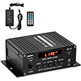 Facmogu AK9 Bluetooth Power Amplifier with 12V 3A Power Adapter, 150W+150W Digital Power Audio Amplifier with Remote Control, Home Audio Player Amp Speaker