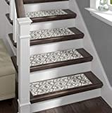 Sofia Rugs Shaggy Stair Treads - Aztec - Carpet Runner Strips for Staircase Steps - Rug-Soft Fabric for Traction and Non-Slip Improvement - Includes Double Sided Adhesive Tape