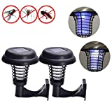 BBTshop 2PC Wall-Mount Solar Powered LED Mosquito Killer Lamp, Outdoor Garden Mosquito Repellent Path Light Mosquito Traps (A)