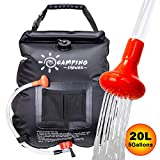 FeChiX Upgraded Camping Shower Bag Solar Shower 5 Gallons/20L Summer Shower Bag with Removable Hose and On-Off Switchable Shower Head Outdoor Shower Bag for Outdoor Camping Traveling Hiking