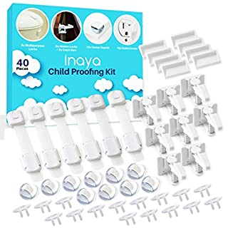 THE COMPLETE CHILD PROOFING KIT - Designed to keep your little ones, up to 5 years old, safe and sound. Includes 6 adjustable latches, 8 invisible locks, 16 outlet plug covers, and 10 clear corner bumpers. Ready to install. No tools required! YOUR BA...