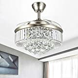Modern Dimmable Fandelier Crystal Ceiling Fan with Lights and Remote Invisible Retractable Chandelier Fan Light LED Lighting-Polished Chrome 36 inches