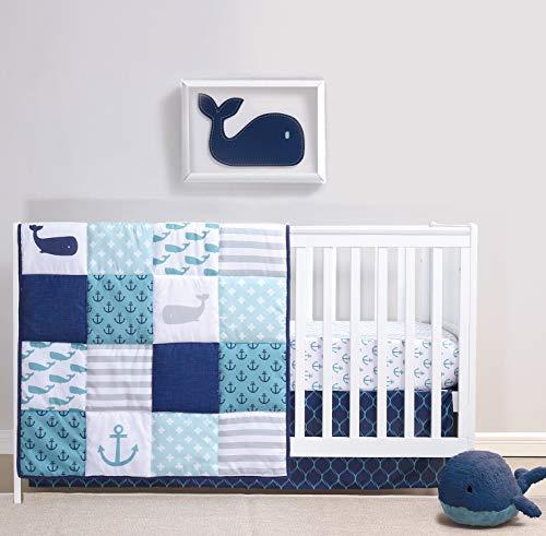 The Peanutshell Nautical Crib Bedding Set for Baby Boys or Girls   3 Piece Nursery Set   Crib Quilt, Crib Sheet, Crib Skirt Included