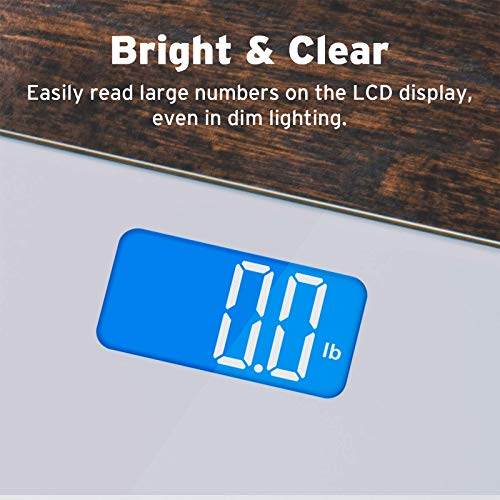 Etekcity Digital Body Weight Bathroom Scale with Body Tape Measure and Round Corner Design, Large Blue LCD Backlight Display, High Precision Measurements, 400 Pounds 2
