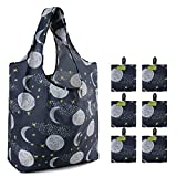 BeeGreen Reusable Grocery Shopping Bags Grocery Bags with Extra punch Black Tote Grocery Bags with Moon and Star Heavy Duty Ripstop Machine Washable Foldable Eco-Friendly Fabric Picnic Travel Gift