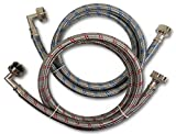 Premium Stainless Steel Washing Machine Hoses with 90 Degree Elbow, 4 Ft Burst Proof (2 Pack) Red and Blue Striped Water Connection Inlet Supply Lines