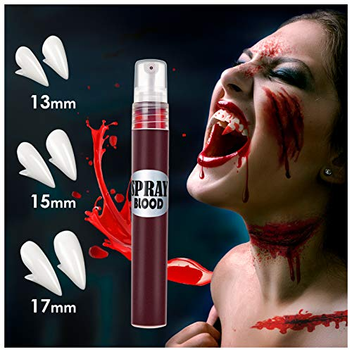Vampire Fangs Teeth with Adhesive 3 Sizes and Fake Blood Spray Kit for Monster, Vampire and Zombie Makeup Dress Up, Vampire Fangs Teeth for Kids Adults, Halloween Party Cosplay Favors Props Decoration