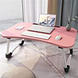 OFAY Laptop Desk Bed Tray, Foldable Lap Desk Bed Table for Breakfast Serving, Notebook Table with Tablet Slots for Couch Floor for Adults/Students/Kids,Pink