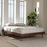 Baxton Studio Mid Century Modern Bed Frame in Walnut Finish (Queen: 83.07 in. L x 62.99 in. W x 13.19 in. H)