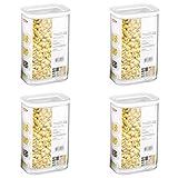 Mepal Modula 106911030600 - Tarros de plástico (2000 ml, 4 unidades), color transparente y blanco
