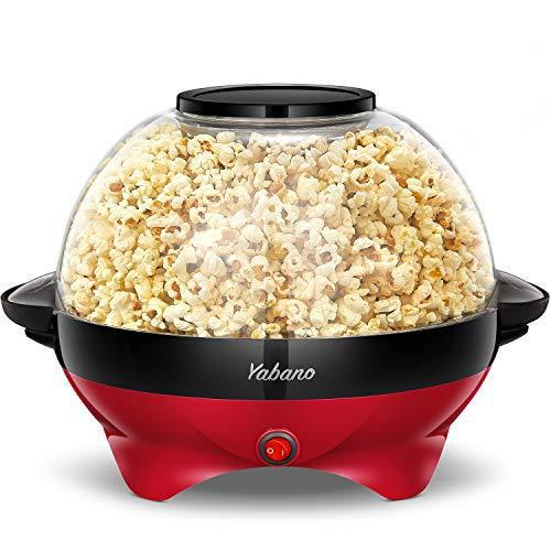 Yabano Popcornmaschine für Zuhause, Popcorn Maker Machine mit Zucker & Öl, Abnehmbare Heizfläche, Antihaftbeschichtung, 5L Popcorn Popper, Großer Deckel als Servierschale, Platzsparende Lagerung