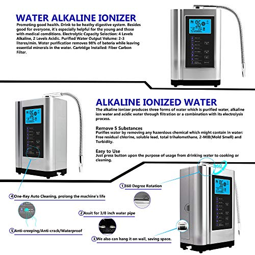 Product Image 7: AlkaDrops Water Ionizer, Water Purifier Machine PH 3.5-10.5 Alkaline Acid Water Machine,Up to -500mV ORP, 6000 Liters Per Filter,7 Water Settings,Auto-Cleaning,Intelligent Voice(silver)